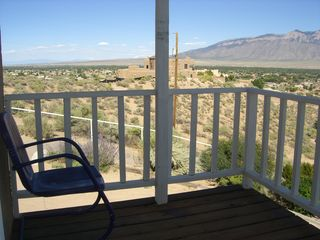 Albuquerque house photo - Upstairs balcony off the master bedroom with view of the mountains