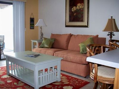 Carolina Beach condo rental - Living room view! Tile flooring in main living areas.