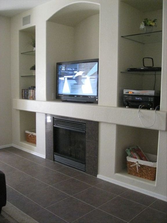 T.V. , sound system, and Gas fireplace