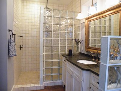 Master Bathroom Walk-in shower with rain head Lots of storage and vanity space