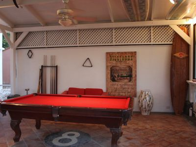 Outdoor covered Party Rancho with Gass Grille and Pool Table