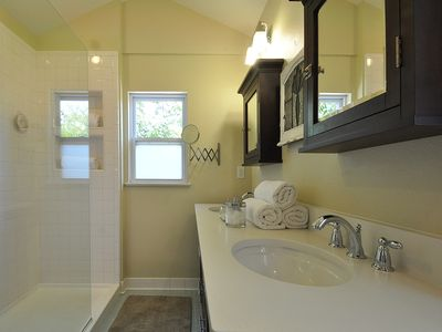 Upstairs master bath with hair dryer