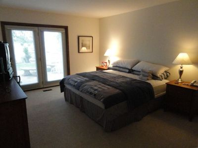 King Size Bed with Private Bath with French Doors to Patio and Lake View!