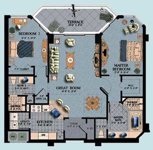 Floor plan for our condominium directly on the Gulf