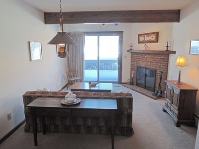 Sitting area adjoining first floor master bedroom suite with views of Mt Mansfield