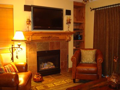"Relax in our Cozy Living Room complete with a 42"" HDTV Flat Screen and Stereo"