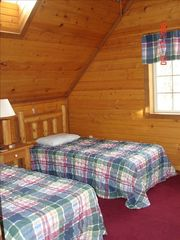 Wisconsin Dells cabin photo - upstairs bedroom with Amish furniture, skylight