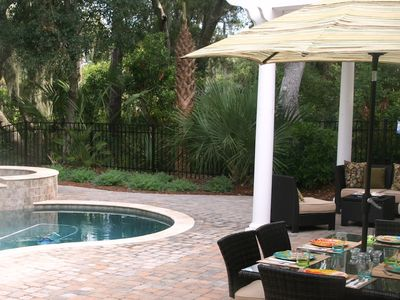 Dine poolside (table seats 6), relax under the pergola, lounge in the pool...