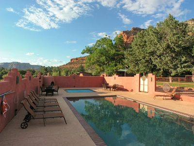 Sedona house rental - Spacious Pool Enclosure with 12 x 12 hot tub and 2 Beehive Gas Fireplaces.