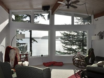 Living area with a great view of Siltcoos Lake!