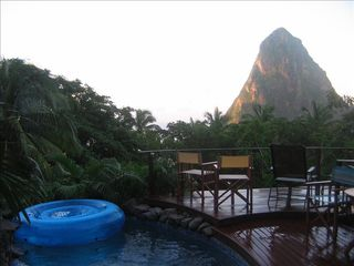 Soufriere house photo - Pool with Petite Piton in Background