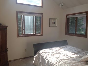 Master bedroom with ceiling fan, cable TV/ DVD