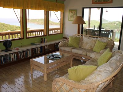 Fish Bay villa rental - Cozy island style living room decorated in an elegant Caribbean motif!