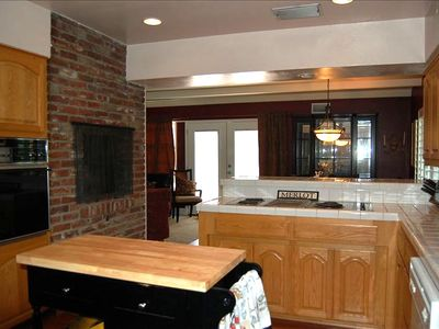 2nd Gas Fireplace located in Large Kitchen