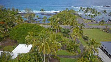 Hilo house rental - House (white roof) overlooking Richardson's Beach Park. Best snorkeling/swim