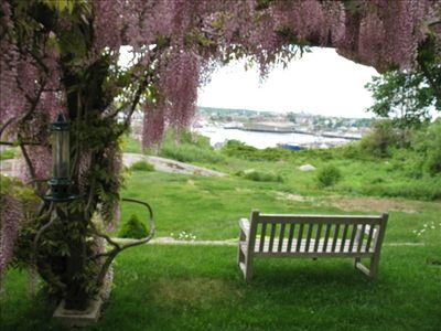 Gloucester - Annisquam apartment rental - View from a bench on the property overlooking the harbor.