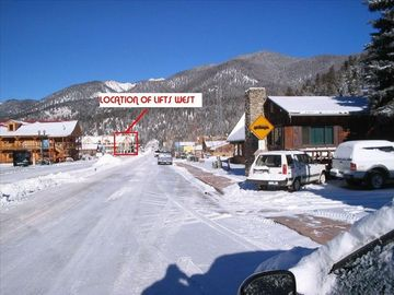 View from Main street. Lifts West located in center of town
