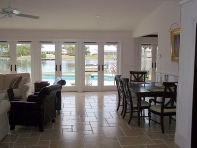 Great Room, dining area, view to pool and river