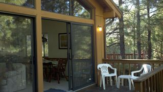 Flagstaff cabin photo - Front deck adjacent to family room and dining area, great for entertaining