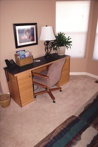 Main Level Office w couch and wireless internet.