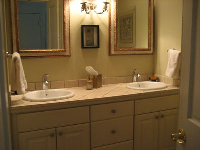Bathroom with Soaking Tub/Shower Combination and Double Sinks