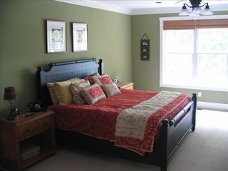 Lake Gaston house photo - Master Bedroom King Bed - Satillite TV & DVD - Main Lake View HUGE bathroom