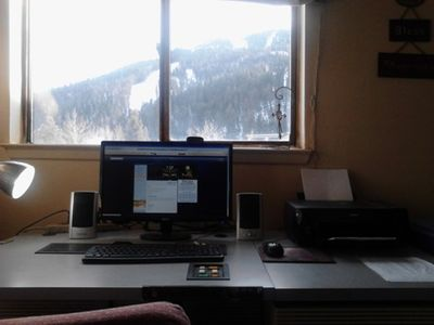 Desktop PC w/ Printer, Speakers and Web Cam for Skyping. Watch skiers from desk.