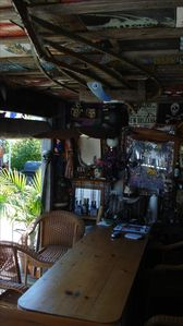 Outside MoJo Hut - ceiling fan, TV, Fridge, Music & Good Times!