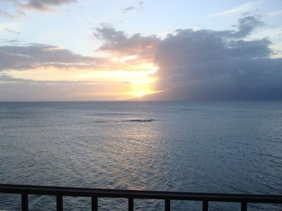"Sunset view from lanai overlooking your ocean   "" infinity pool """