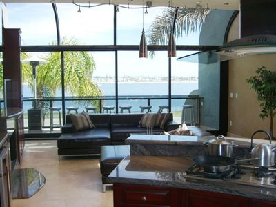 Living room with view of bay.