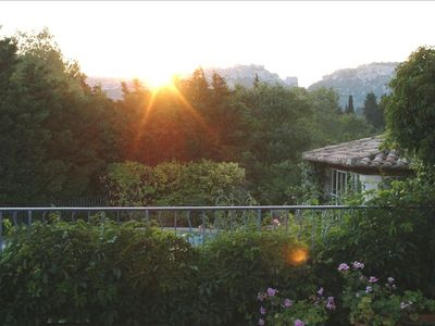 Sunset from the terrace with view of Les Baux de Provence.