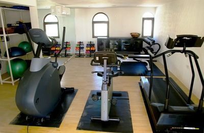 Gym with ocean views