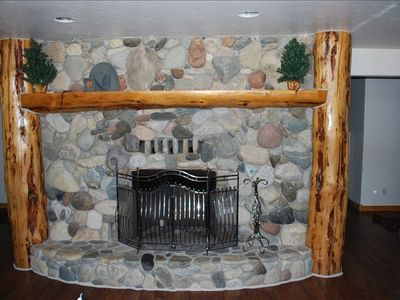 Basement fireplace.