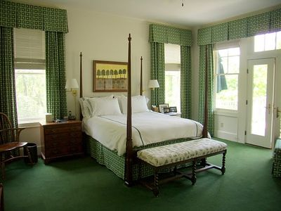 Master Bedroom with French Doors to Deck overlooking woods