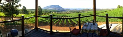 Yes, this is REALLY the panoramic view of vineyards and mountain from your deck.