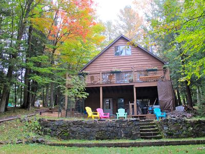 Old Forge chalet rental - View of large level back yard, perfect for yard games!