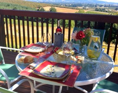 Enjoy the vineyard views with your lunch on the deck.