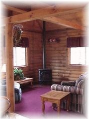 Wisconsin Dells cabin photo - main level living room with gas fireplace
