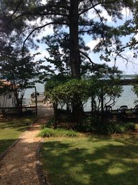 Cropwell house rental - Lovely walkway to the arbor, dock and boat house.