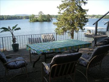 Hot Springs house rental - View of Lake Hamilton from patio on lower level