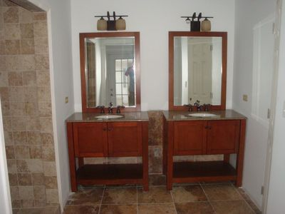 3rd Bathroom, double vanities with granite tops, walk-in shower