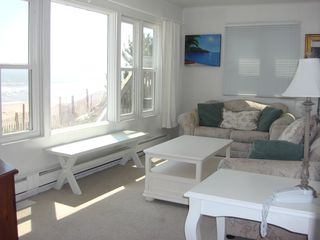 Brant Beach house photo - First flr. LR: ocean views, big TV, pocket door for privacy - can be 6th BR!
