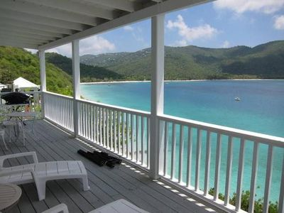 View from the deck: Magen's Bay beach