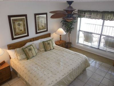 Master bedroom with a King size bed and a great view of the Gulf