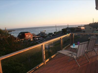 Wrap-around deck with beautiful view of the ocean and bay.