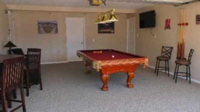 "Game Room with 47"" flat screen Pool table and cable for watching sports"