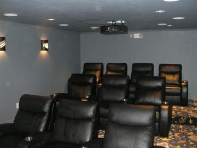 Home theater room with 10 leather recliner chairs (optional $50/nt)