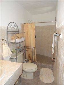 Master ensuite bathroom with a large walk in shower