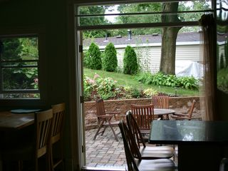 Plymouth cottage photo - View of backyard patio from the eat-in kitchen
