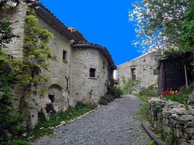 Romantic stone house in a olive- palmtrees garden, terrace & Cevennes Panorama